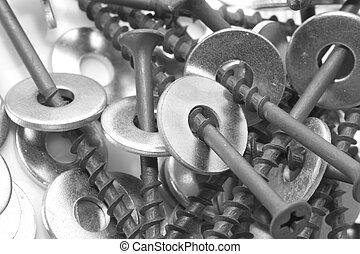 nuts and screws. macro