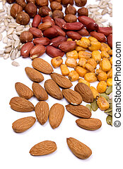Nuts and seeds, healthy snack isolated on white
