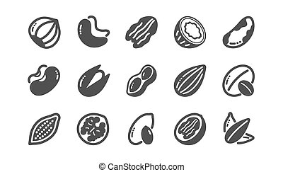 Nuts and seeds icons. Hazelnut, Almond nut and Peanut....