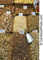 Nuts - Barcelona Market - Spain - Display of nuts on a...