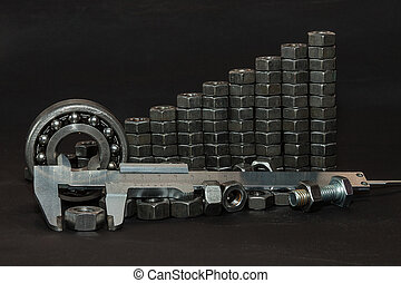 nuts bolts bearing - bolts and nuts, macro, black background...