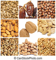 nuts collage - a collage of nine pictures of different nuts