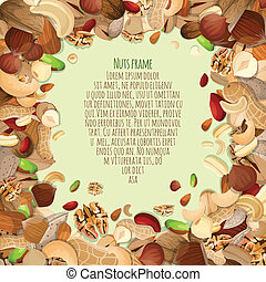 Nuts decorative frame - Nuts and seeds mix food decorative...