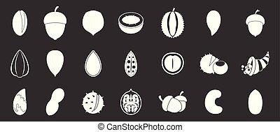 Nuts icon set grey vector