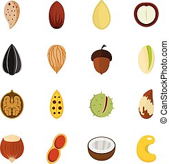 Nuts icons set vector flat
