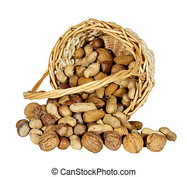 Nuts in a basket isolated on white background