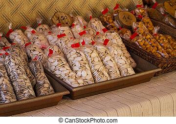 nuts in a medieval fair in Spain