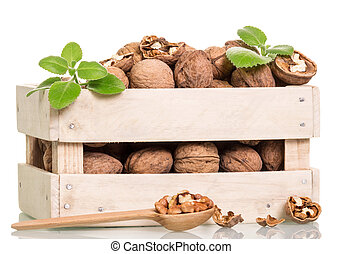 Nuts in box and spoon isolated
