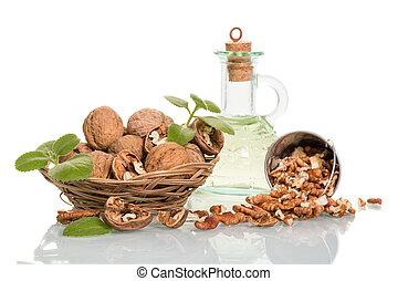 Nuts in wicker basket