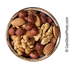 nuts mix in a bowl isolated on white. Top view