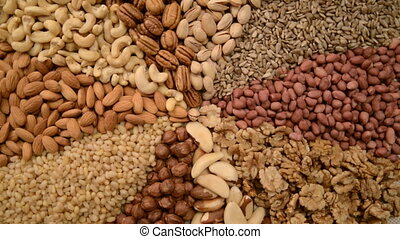 Nuts mix in a canvas bag in table. - Nuts mix in a canvas...