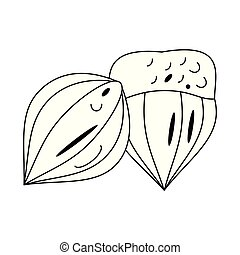 Nuts natural food cartoon in black and white