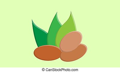 nuts on a green background, vector illustration. nuts lie on the ground, under green oblong leaves. healthy food, weight loss, farming, eco-friendly products for the environment.