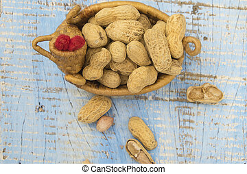 Nuts on a wooden background