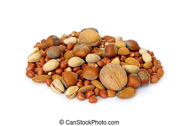 Nuts on white background