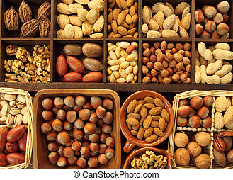 Nuts - Varieties of nuts: peanuts, hazelnuts, chestnuts,...