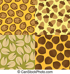 Nuts and seeds mix seamless pattern set isolated vector illustration.