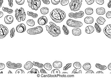 Nuts Seamless vector pattern. Outline hand drawn...