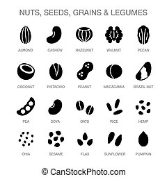Nuts, seeds, grains and legumes icon set. Solid black cartoon style icons. Plant based diet ingredients, non-dairy milk symbols.