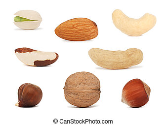 Nuts set (isolated) - Different nuts (groundnut, pistachio, ...