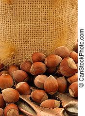 nuts - nutcracker and heap of hazelnuts