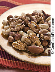 Nuts - Mixed nuts on a plate close up shoot