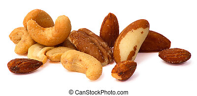 This is a close-up of mixed nuts isolated on white.