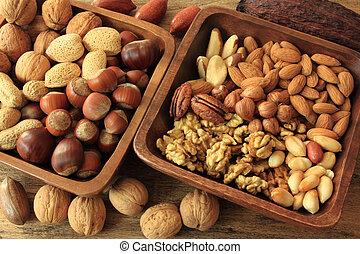 Nuts - Types of nuts: peanuts, hazelnuts, chestnuts, walnuts...