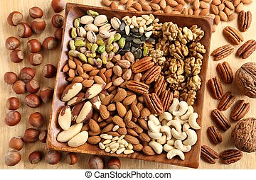 Varieties of nuts: kashew, hazelnuts, walnuts, pistachio and pecans. Food and cuisine.