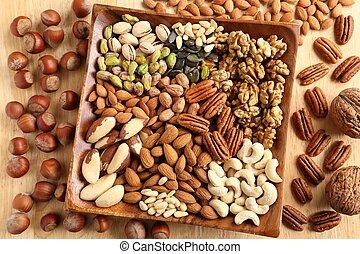 Nuts. - Varieties of nuts: kashew, hazelnuts, walnuts, ...
