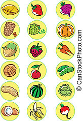 Nuts, vegetables, fruits - The illustration shows the ...