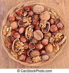 nuts, walnut and hazelnut