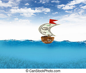 Nutshell ship with dollar banknote sail and red flag
