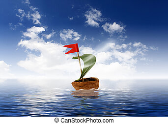 Nutshell ship with green leaf sail and red flag