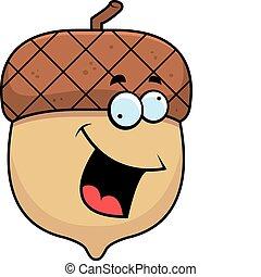 A happy cartoon acorn with a crazy expression.