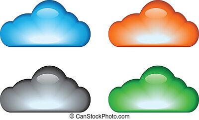 nuvem, ícone, jogo