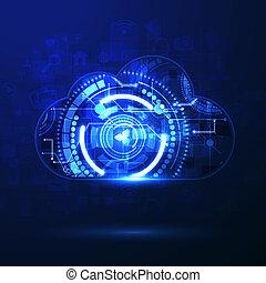 nuvem, apps, upload, ilustração