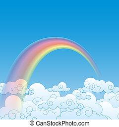nuvem, arco íris, vetorial, ilustração, coloridos