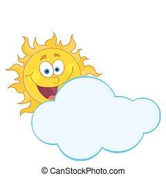 nuvem, atrás de, escondendo, feliz, sol