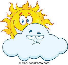 nuvem, atrás de, triste, sol, sorrindo