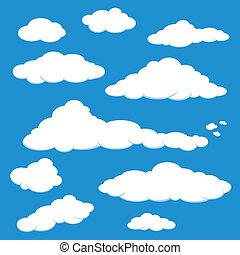 nuvem, céu azul, vetorial