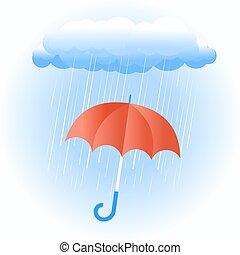 nuvem chuva, com, guarda-chuva vermelho