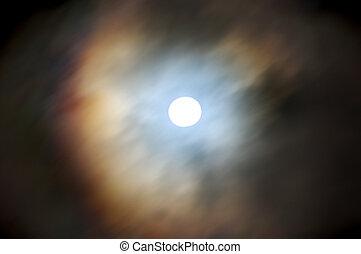 nuvem, cobertura, lua