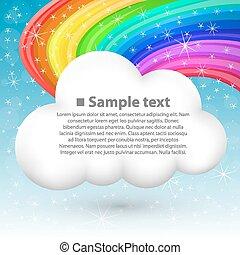 nuvem, com, arco íris