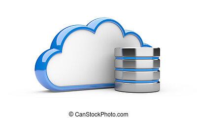 nuvem, com, hdd, base dados, conceito