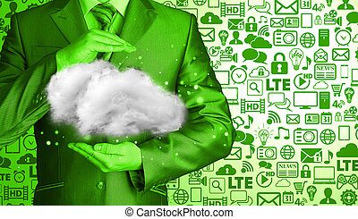 nuvem, computando, conceito, cima, de, jovem, homem negócios