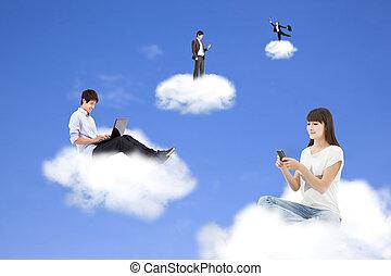 nuvem, computando, conceito, e, tecnologia, estilo vida