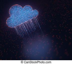 nuvem, computando, dados, chuva