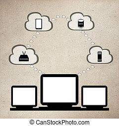 nuvem, computando, rede, plano