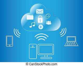 nuvem, computando, sem fios, acesso, para, digital, conteúdo